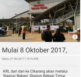 Kabar Gembira Bagi Pengguna KRL Jabodetabek Per Tanggal 08 Oktober 2017 Bisa Dari dan Ke Cikarang