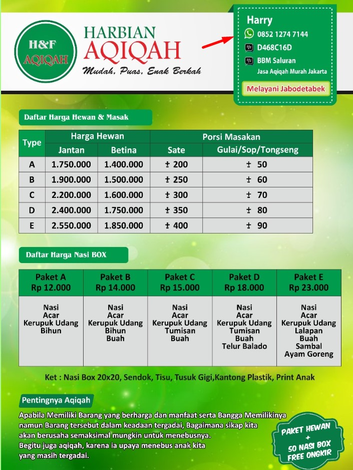 Aqiqah Murah Hemat Enak dan Berkah di Jakarta Pemesanan Hubungi 085212747144